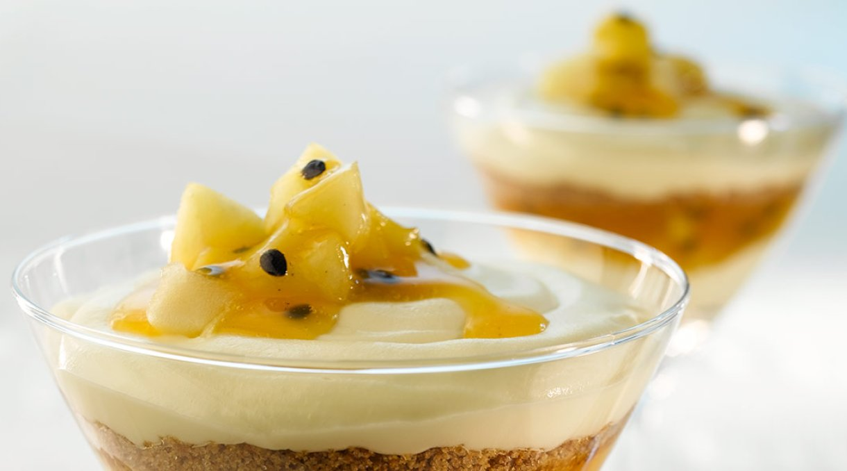 ostekake med pasjonsfrukt og sitrongele